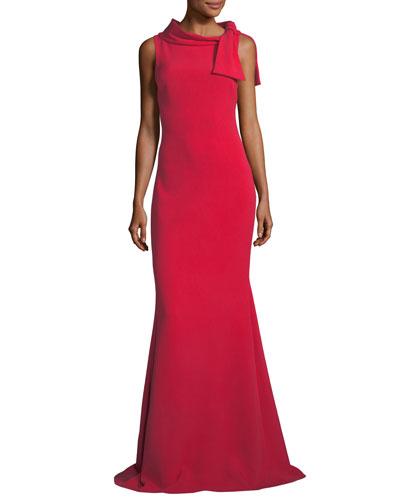 Self-Tie Sleeveless Column Gown