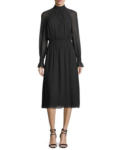 Ruffle-Trim Silk Georgette Dress
