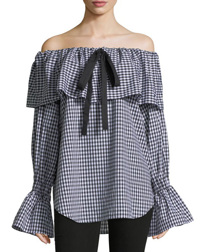 Clara Off-the-Shoulder Gingham-Printed Poplin Blouse