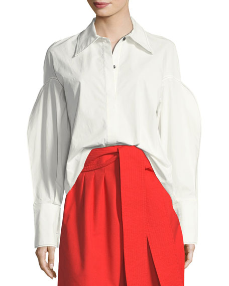 REJINA PYO Tate Button-Front Pouf-Sleeves Poplin Shirt