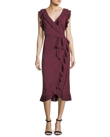 Whitney Ruffled Jersey Wrap Dress