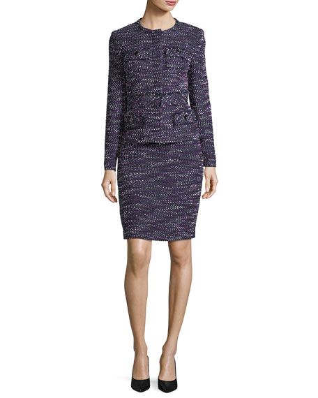 Albert Nipon Four-Pocket Tweed Skirt w/ Jacket