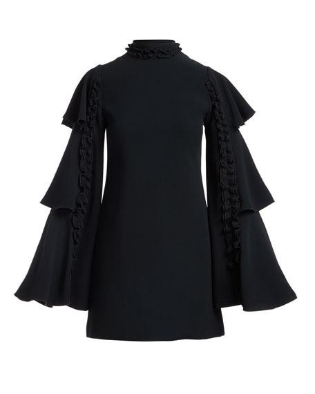 Marianne Tiered Bell-Sleeve Crepe Dress w/ Ruffled Trim