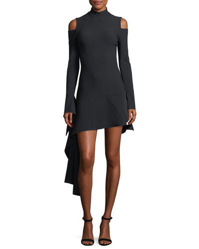 Alia Mock-Neck Cold-Shoulder Mini Dress w/ Drape Detail