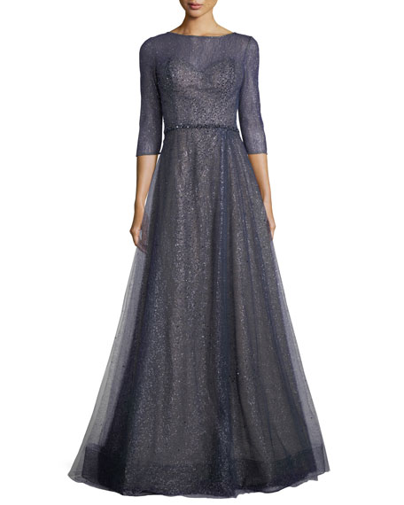 Rene Ruiz Elno 3/4-Sleeve Metallic Tulle Evening Gown