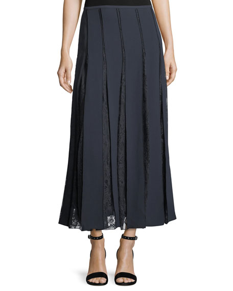 Lauralee Finesse Crepe Skirt w/ Lace Insets
