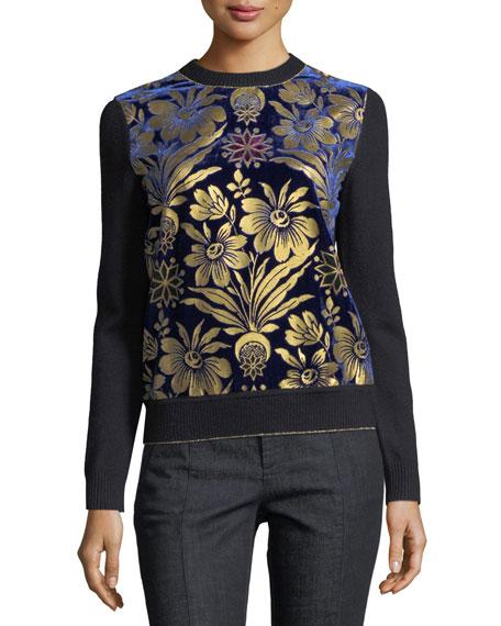Hollis Cosmic Floral Foiled Velvet & Merino Sweater