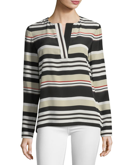 Joan Striped Long-Sleeve Silk Blouse