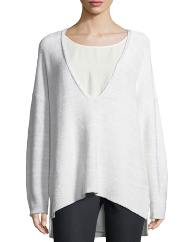 Sequined Silk Sweater w/ Tank