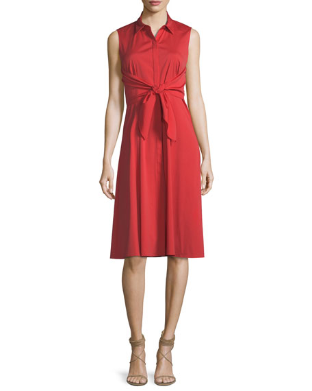 Lafayette 148 New York Mariel Tie-Detail Poplin Dress