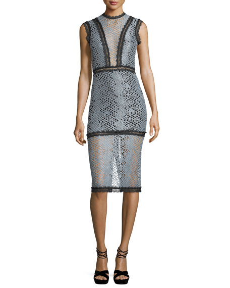 Alexis Donatella Sleeveless Fitted Lace Midi Dress
