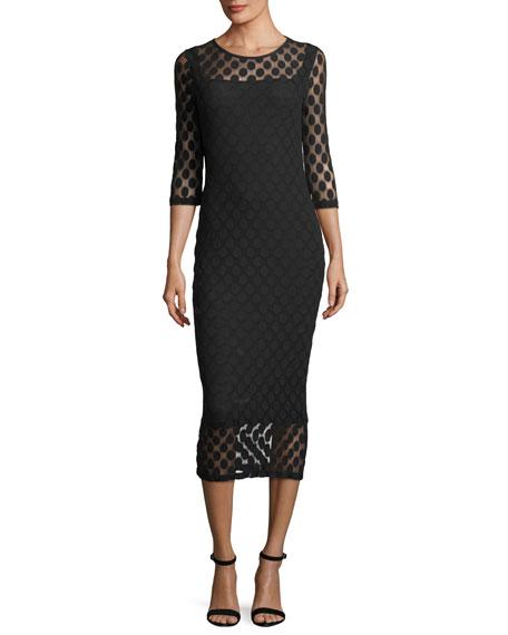 Dot Tulle 3/4-Sleeve Dress