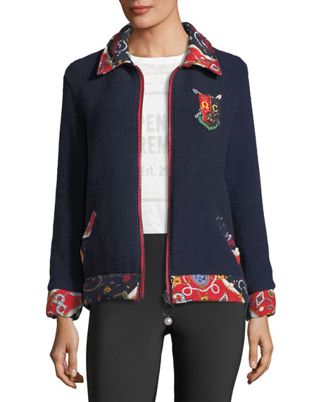 Opening Ceremony Sorority-Print Reversible Zip-Front Knit Jacket