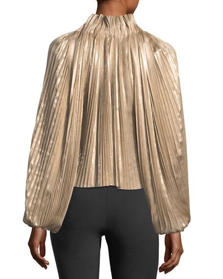 Foil Pleated Split-Front Long-Sleeve Top
