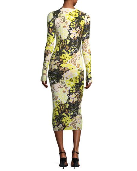 Floral-Print Long-Sleeve Rib-Knit Midi Dress