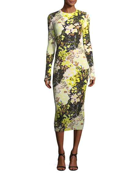 Floral-Print Long-Sleeve Rib-Knit Midi Dress