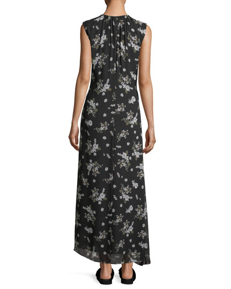 Vince Tossed Floral-Print Sleeveless Silk Maxi Dress