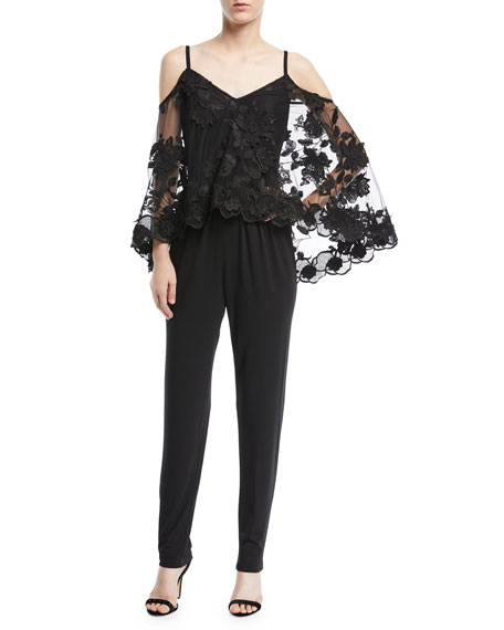 Kobi Halperin Monique Jumpsuit w/Sheer Lace Overlay
