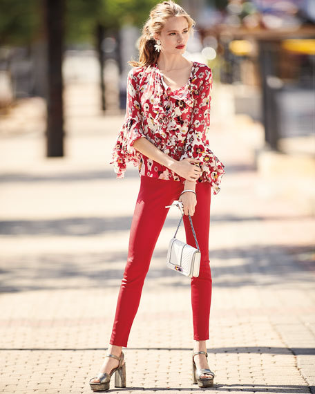 Agatha Bell-Sleeve Floral-Print Silk Blouse