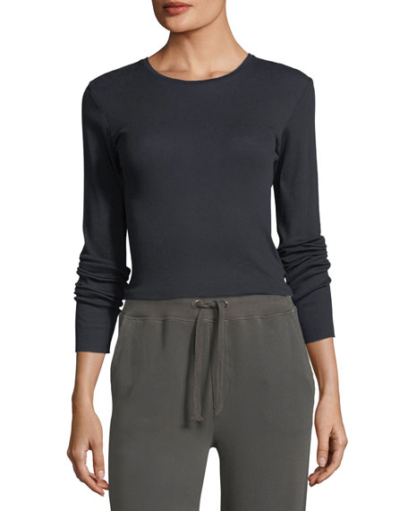 Vince Crewneck Long-Sleeve Rib-Knit Pima Top