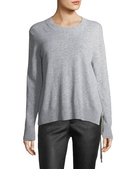 Cashmere Asymmetric Side Tie Sweater, Gray from LastCall.com