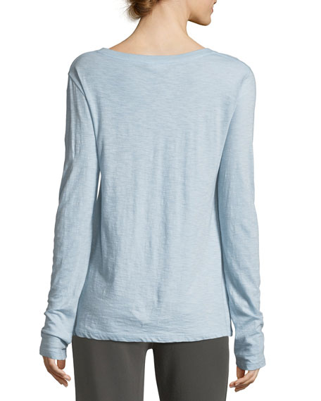 Crewneck Long-Sleeve Slub Pima Cotton Top