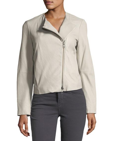 Zip-Front Lamb Leather Jacket