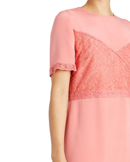 Silk Crepe Dress with Chantilly Lace
