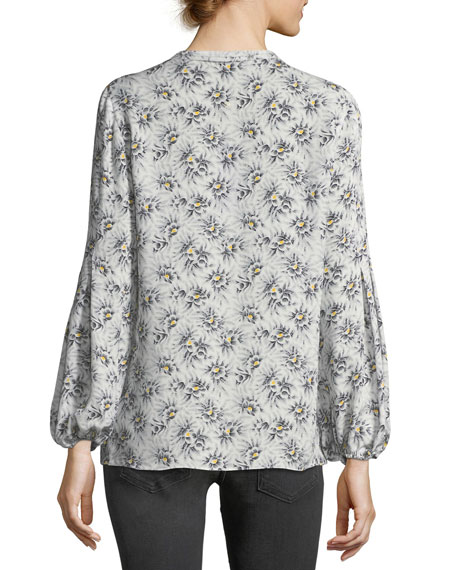 Chelsey Long-Sleeve Floral-Print Silk Blouse
