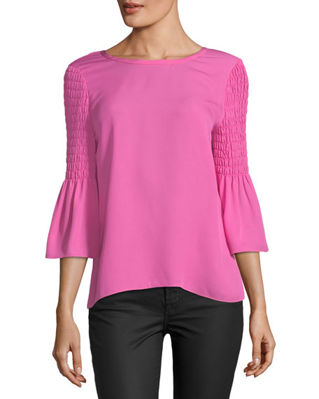 Emelia Smocked-Sleeve Silk Blouse
