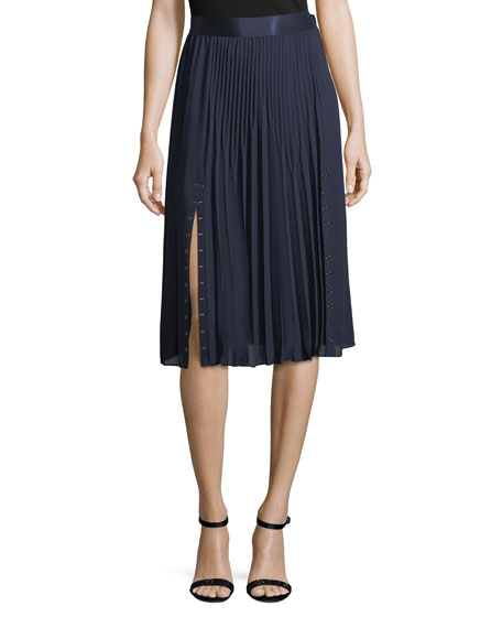 Edith Pleated Crepe Skirt