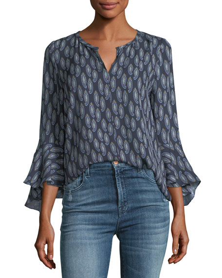 Janelle Split Flutter-Sleeve Silk Top