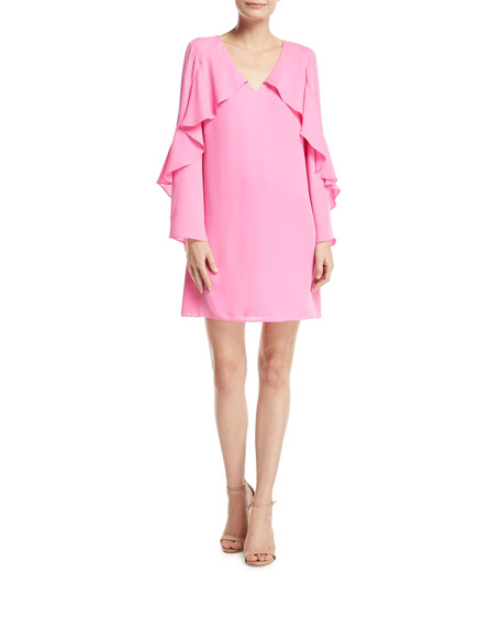 Kobi Halperin Bethenny Ruffled Long-Sleeve Dress