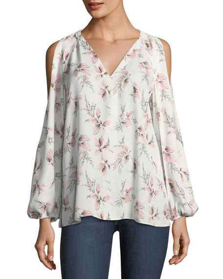 Kobi Halperin Addie Floral-Print Cold-Shoulder Blouse