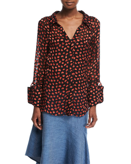 Emmerson Heart-Burnout Velvet Shirt