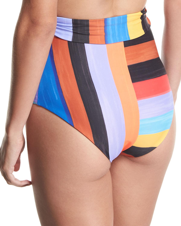 a8a26f629e5d6 Mara Hoffman Jay Brushed Stripes High-Waist Swim Bikini Bottom | Neiman  Marcus