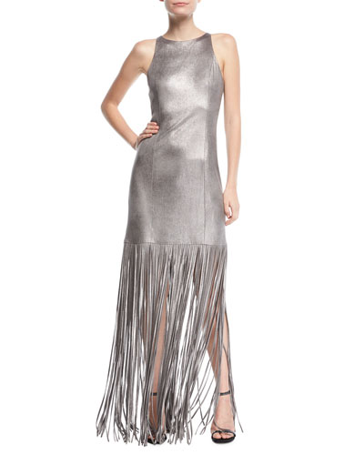 Fringed Metallic Faux-Suede Gown