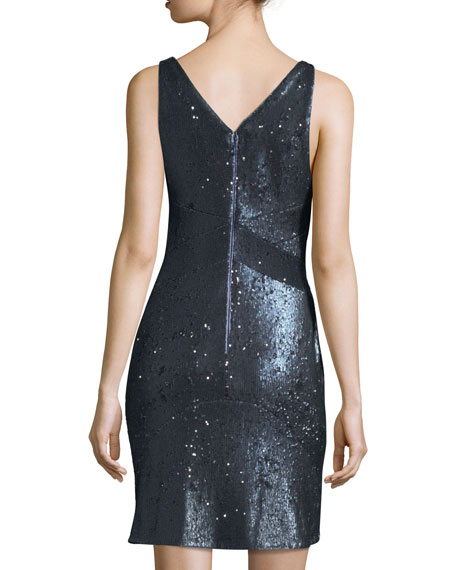 Sleeveless Plunging Sequined Mini Cocktail Dress