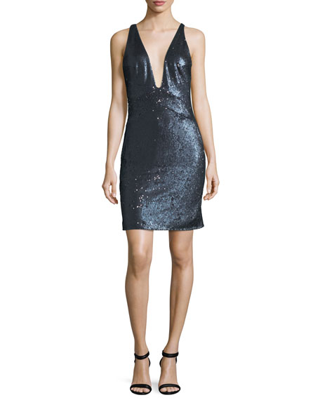 Halston Heritage Sleeveless Plunging Sequined Mini Cocktail Dress