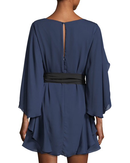 Flutter-Sleeve Shift Cocktail Dress w/ Sash