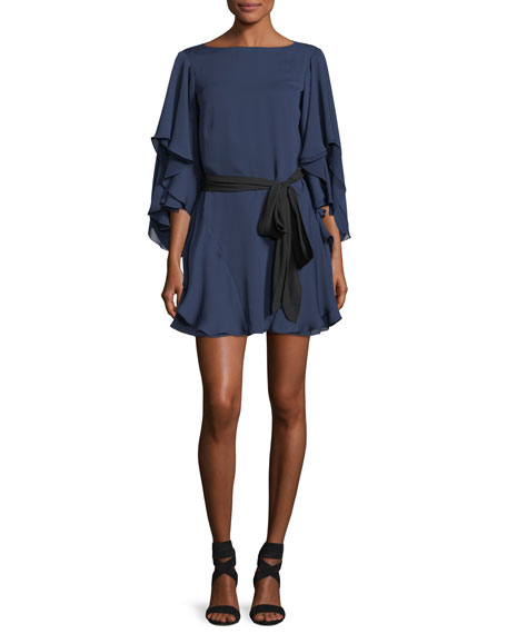 Halston Heritage Flutter-Sleeve Shift Cocktail Dress w/ Sash