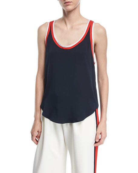 Milly STRETCH SILK TRACK TANK