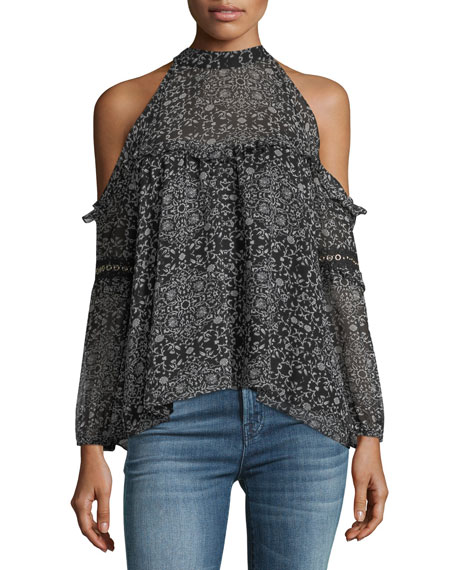 MISA Los Angeles Margarita Cold-Shoulder Printed Chiffon Blouse