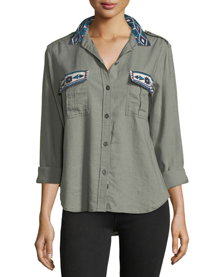 Kona Button-Front Linen-Blend Shirt w/ Embroidery