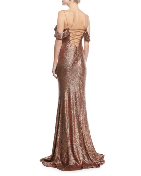 Cecilia Metallic Strappy-Back Puddle-Hem Gown