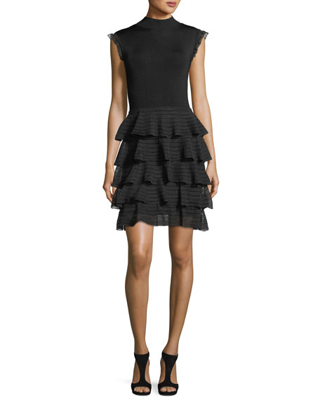 Alice + Olivia Janice Tiered Ruffled Fit-and-Flare Knit