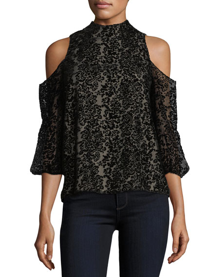 Alice + Olivia Hallie Cold-Shoulder Velvet Devor?? Halter
