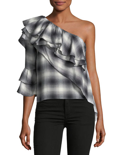 Hilaria One-Shoulder Plaid Ruffle Blouse
