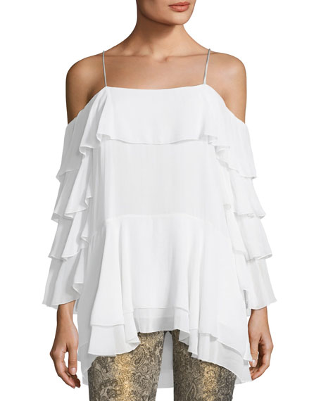 Alice + Olivia Lexia Lyrd Cold-Shoulder Ruffled Chiffon
