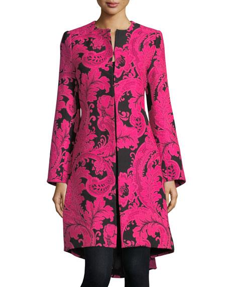 Liza Bell-Sleeve Paisley Embroidered Midi Coat